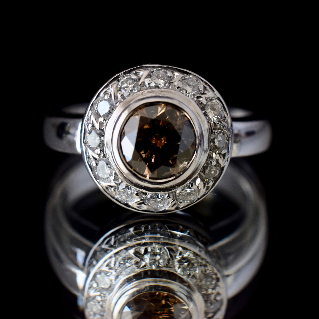 Magnificent 1.0ct Natural Fancy Cognac C5 Diamond Halo 18ct White Gold Ring Valuation $12,620.00