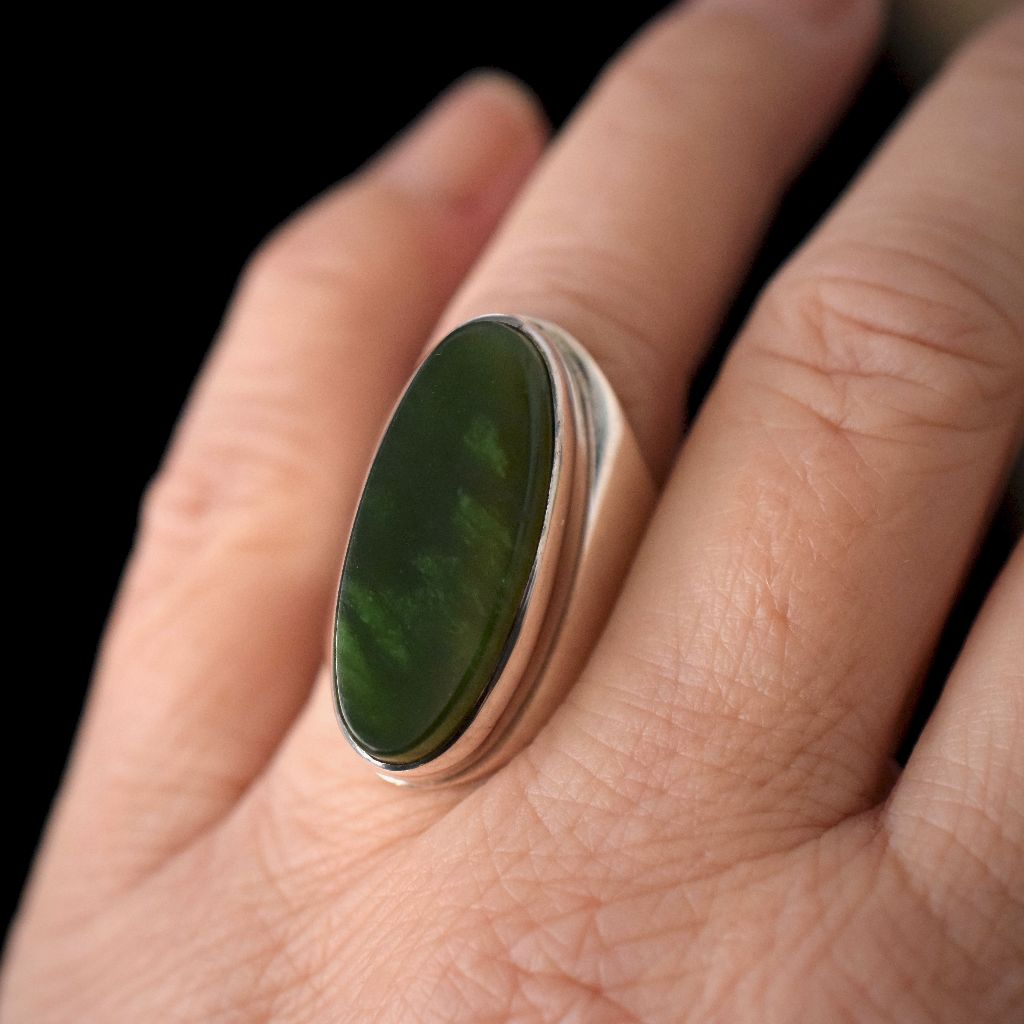 Vintage Massive Danish Sterling Silver Nephrite Jade Statement Ring 17.81 Grams