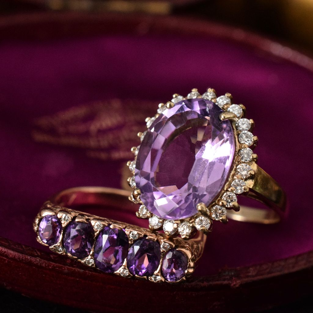 Vintage/Modern 9ct Yellow Gold Amethyst And Diamond Ring
