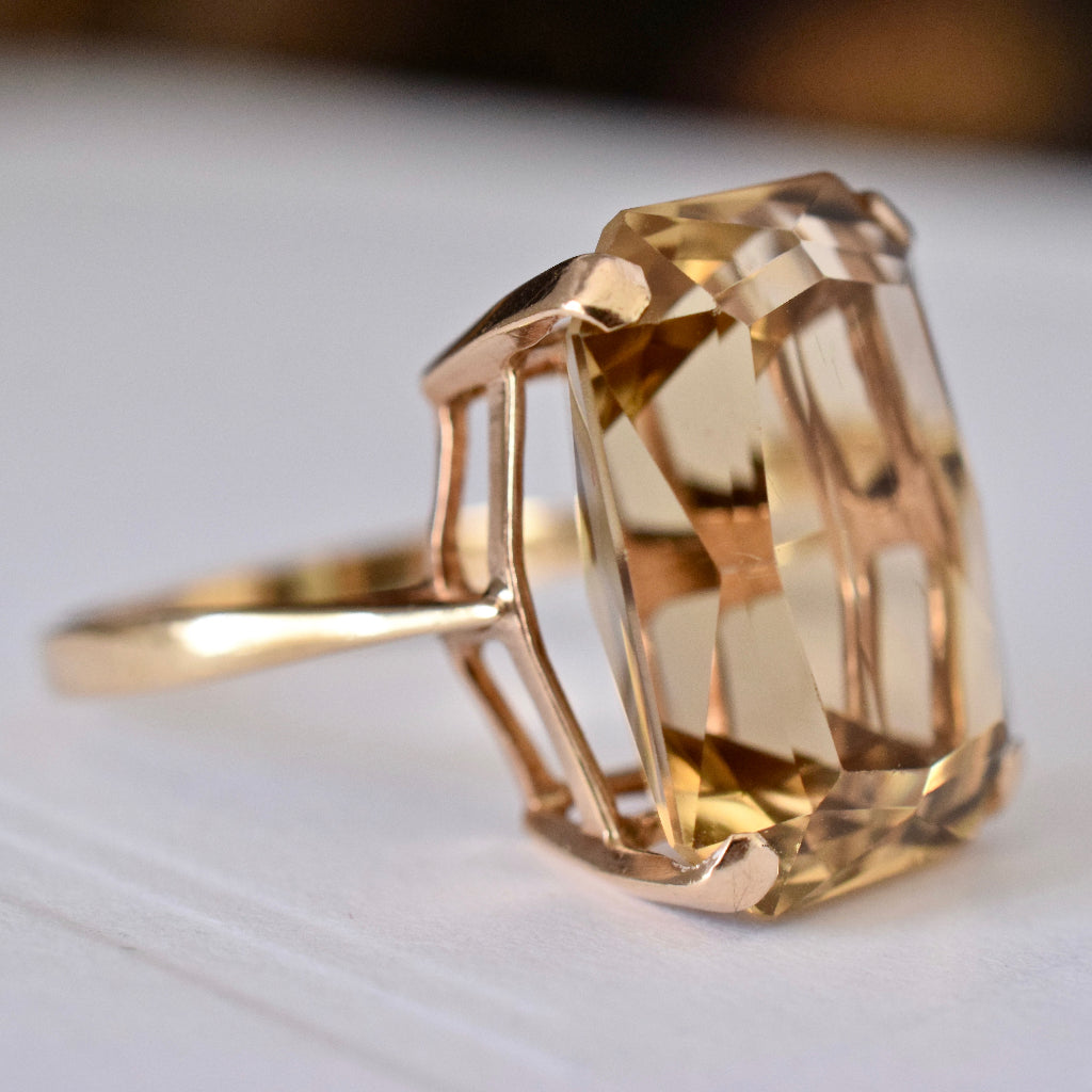 Vintage 9ct Yellow Gold Large Lemon Citrine Assayed London 1962