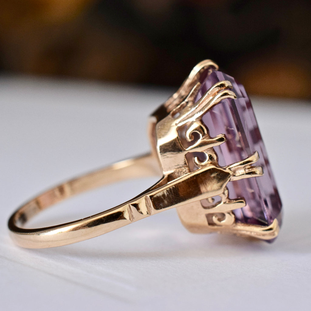 Stunningly Large Vintage Amethyst 9ct Yellow Gold Ring