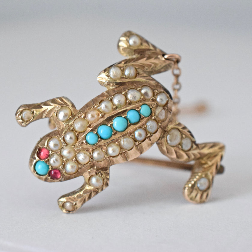 Antique Early Australian 'Duggin & Shappeare' Turquoise Seed Pearl Brooch
