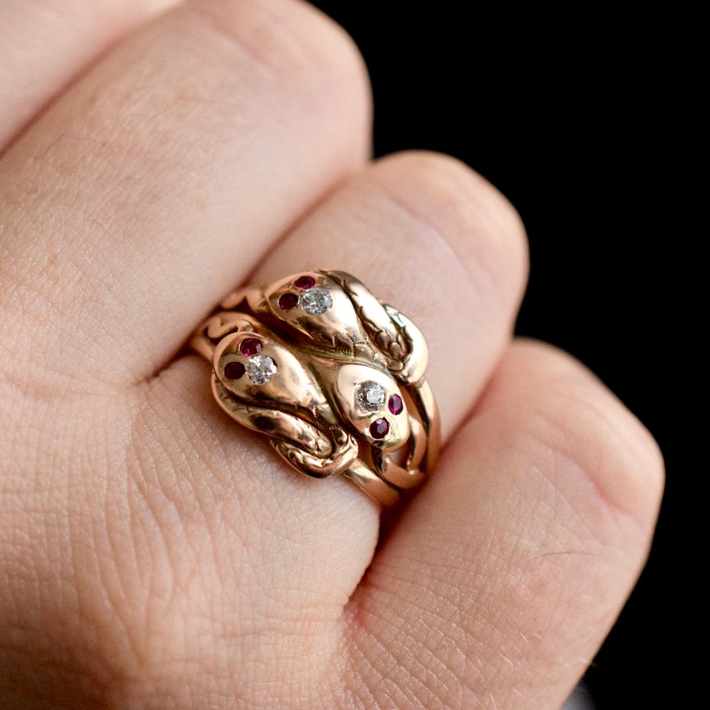 Antique Late Victorian / Art Nouveau 14ct Rose Gold Rare Triple Snake Ring