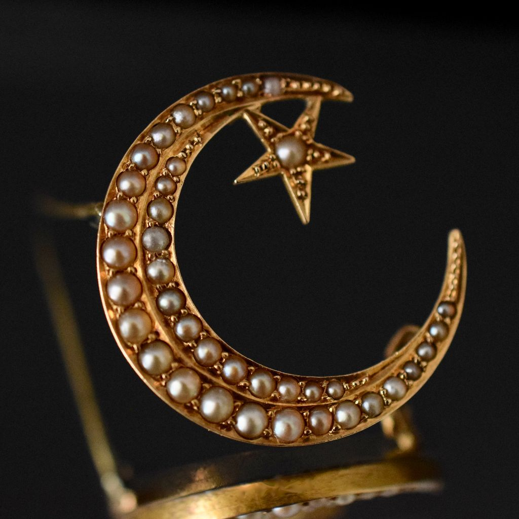 Antique Edwardian 15ct Gold 'Star And Crescent' Brooch Circa 1915 by P. Falk and Co.