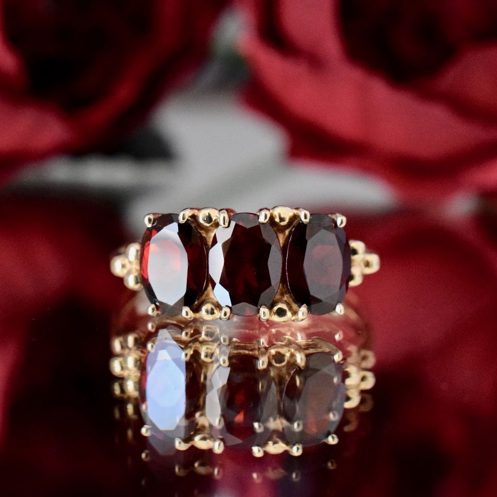 Modern/Vintage Garnet Trilogy 9ct Yellow Gold Ring