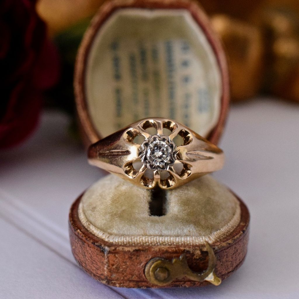 Vintage 'Antique Style' 9ct Yellow Gold Diamond Ring