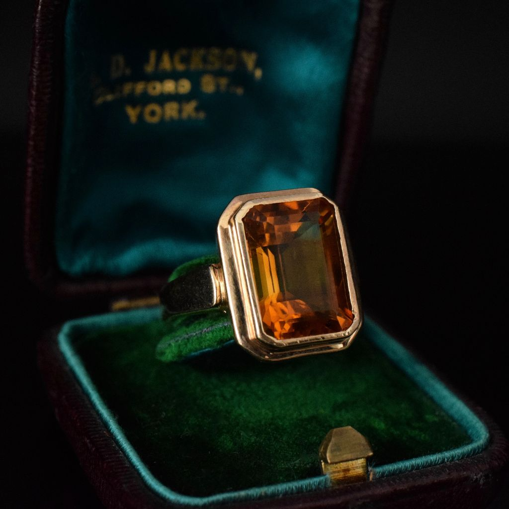 Modern Large Citrine 9ct Yellow Gold Ring