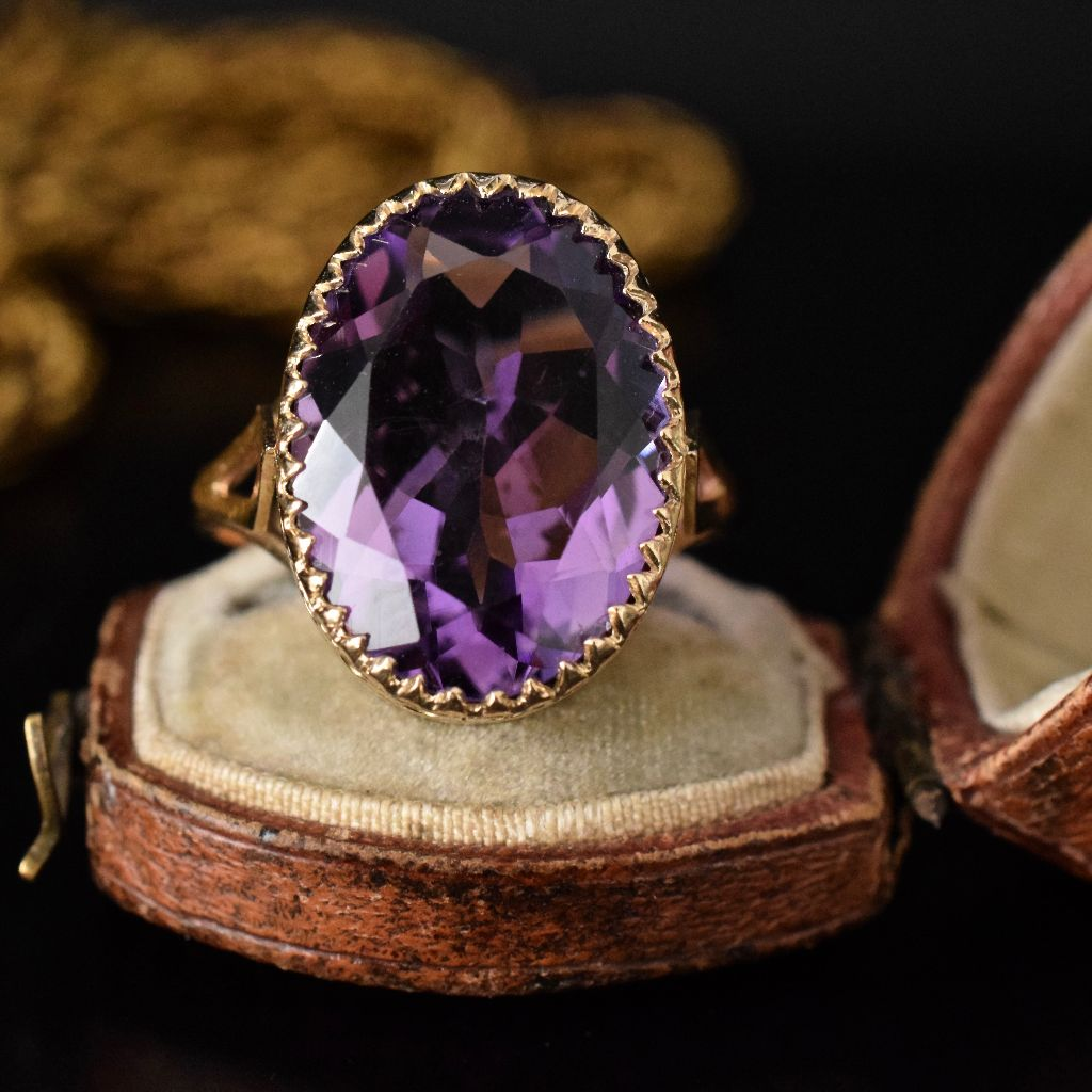 Stunning Large Natural Amethyst 9ct Yellow Gold Ring