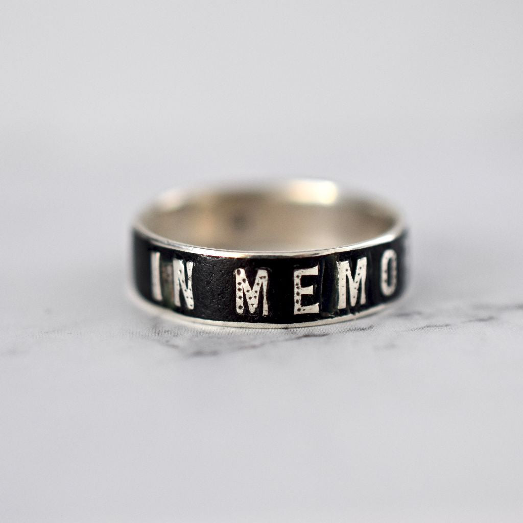 Antique Silver French Enamel 'Memory' Mourning Ring Circa 1890