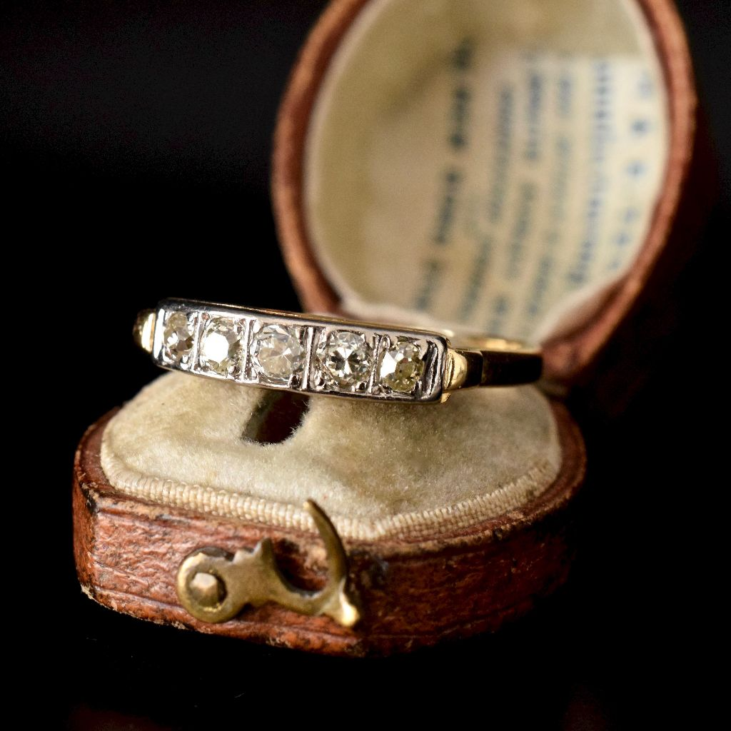 Antique 18ct Yellow Gold Old Mine Cut Five Stone Diamond Ring