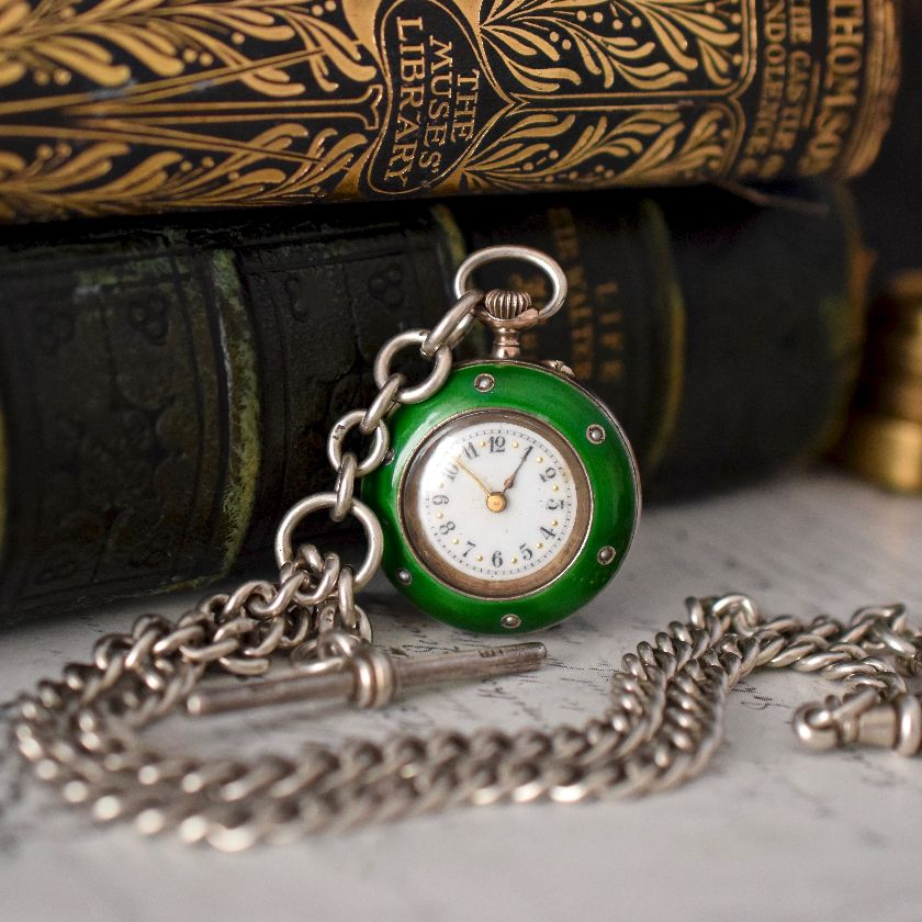 Antique Sterling Silver Watch Chain circa 1897 / Silver And Seed Pearl Pocket Watch circa 1900
