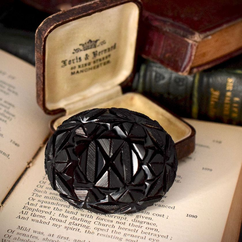 Antique Victorian Whitby Jet Mourning Brooch Circa 1870