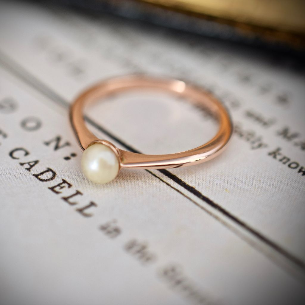 Edwardian 9ct Rose Gold Pearl Ring By Joseph Lawrence Melbourne Circa 1915