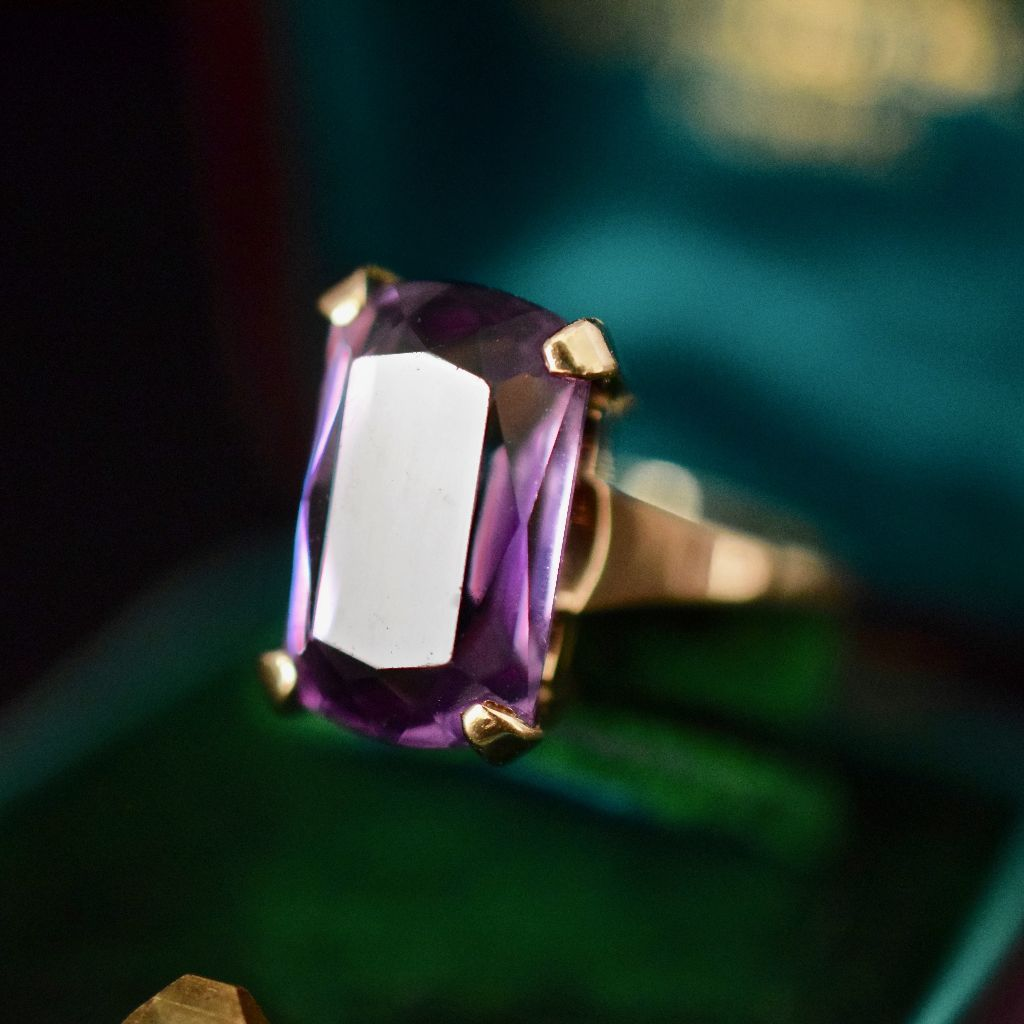 Vintage Huge 9ct Yellow Gold Natural Amethyst Ring
