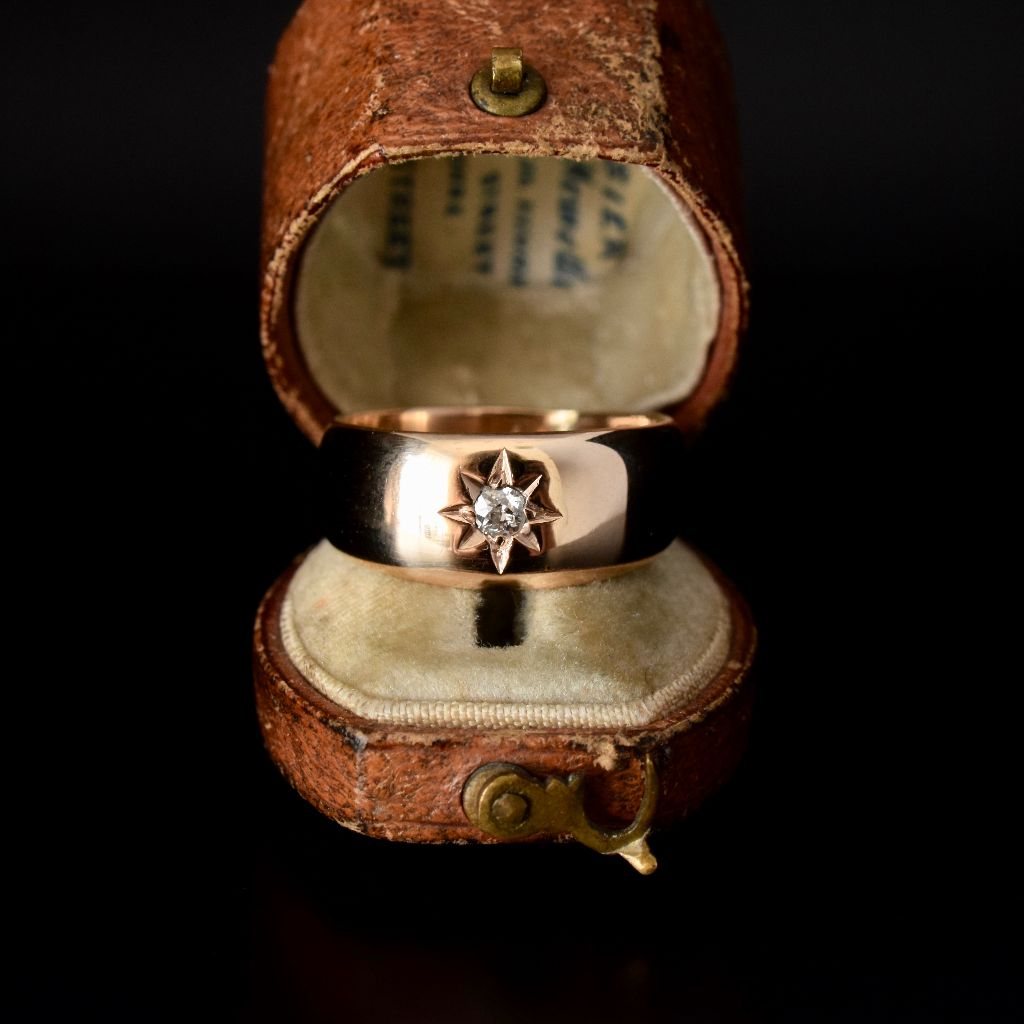 Antique Early Australian 18ct Rose Gold Diamond 'Gypsy' Ring