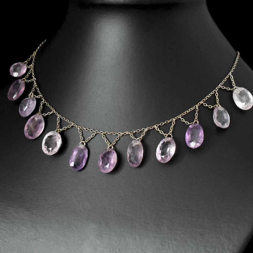Vintage Sterling Silver Natural Amethyst Festoon Necklace