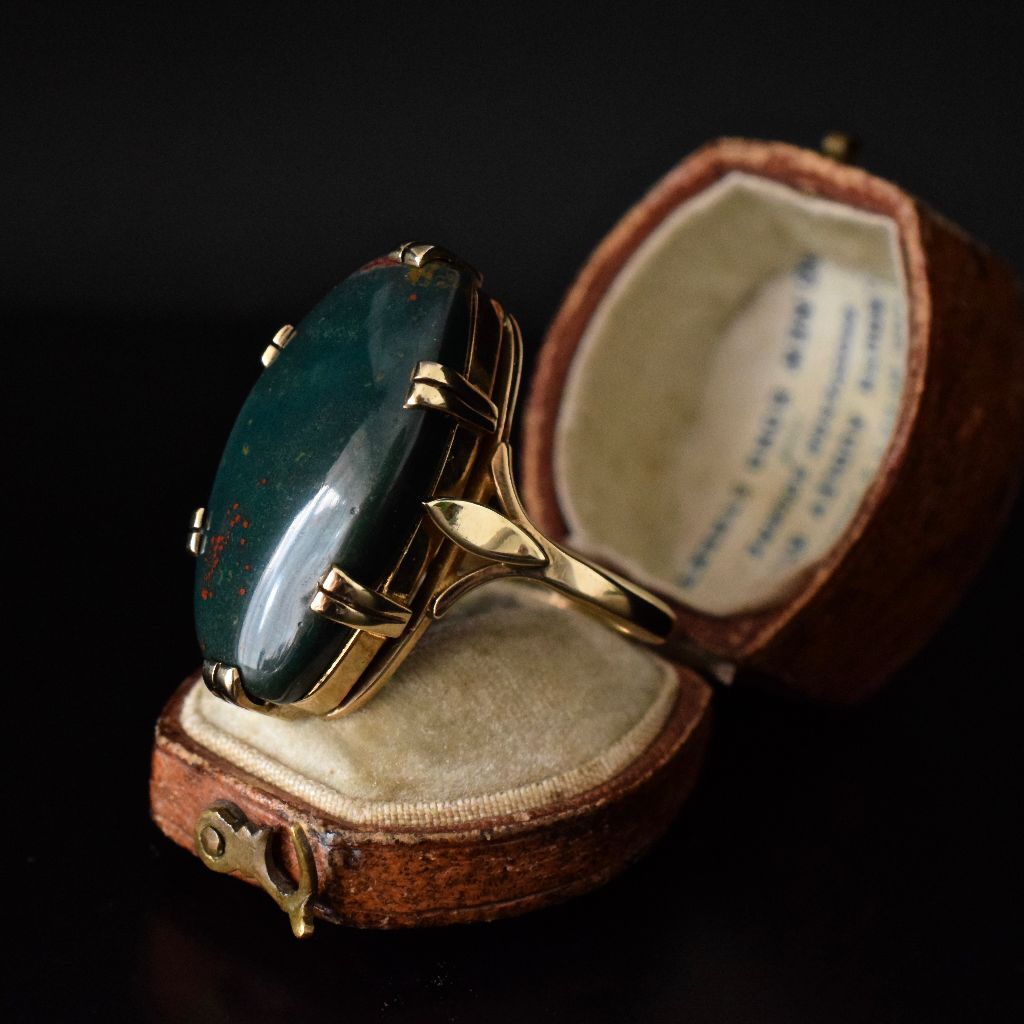 Vintage 9ct Yellow Gold Large Bloodstone Ring