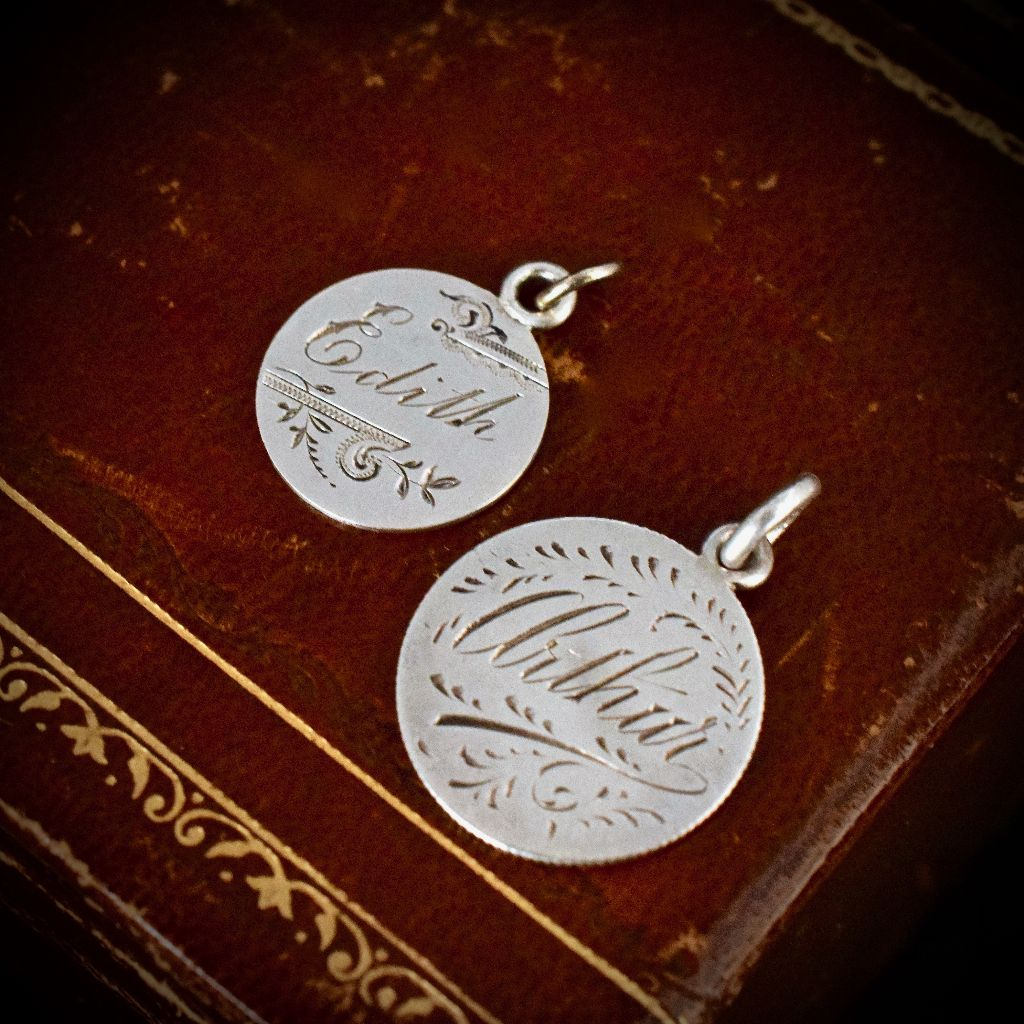 Antique 1899 Victorian Sterling Silver Love Token Inscribed 'Arthur'