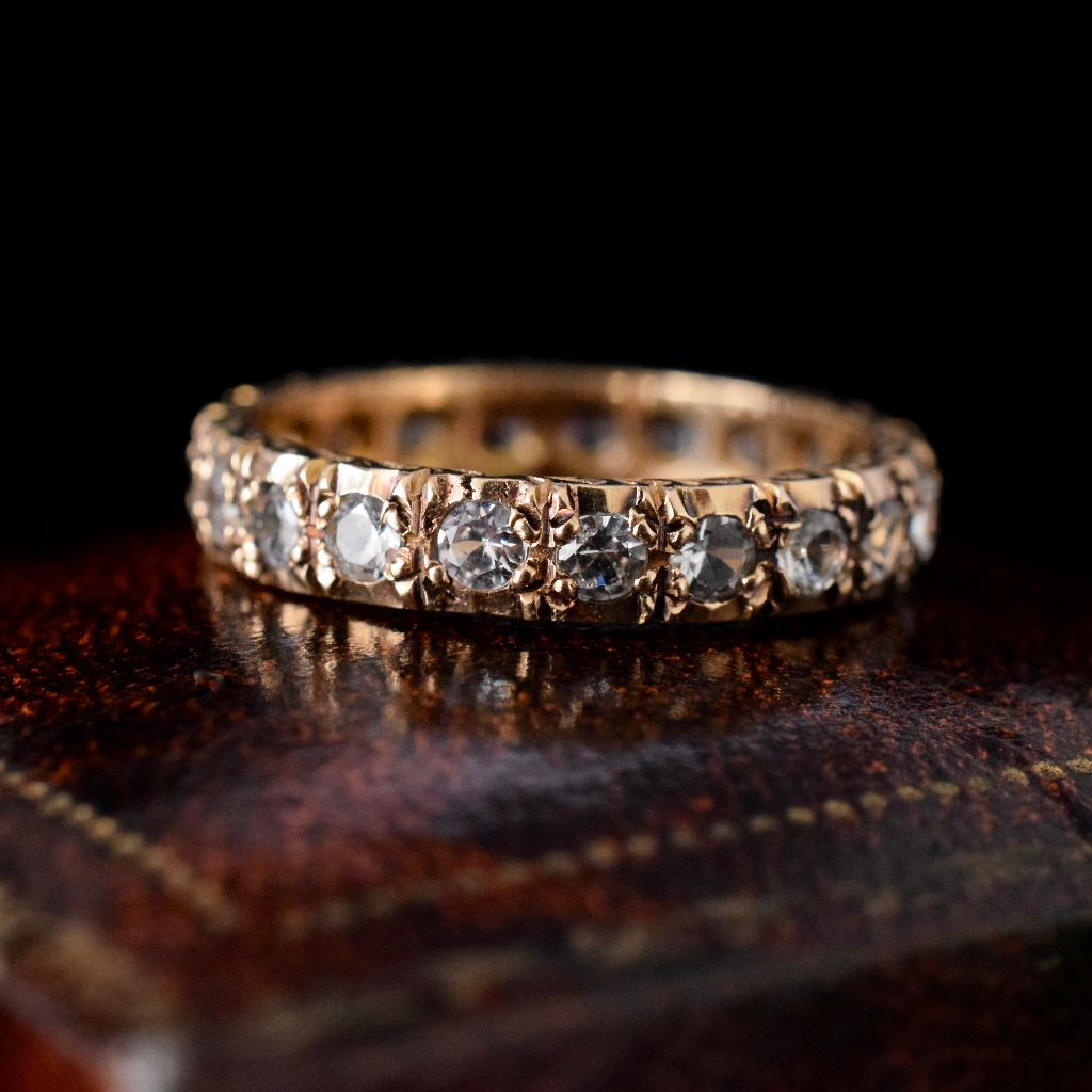 Vintage 9ct Yellow Gold White Sapphire Full Hoop Eternity Ring 1962