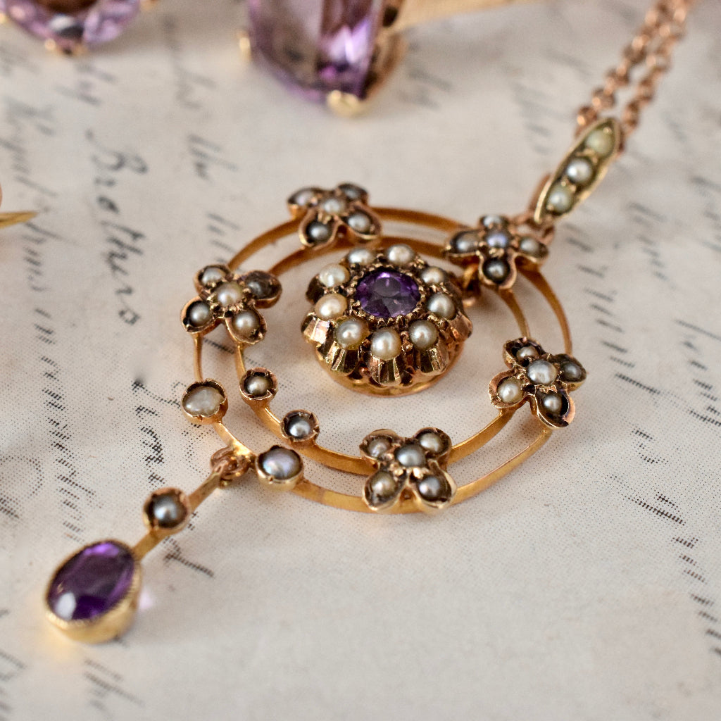 Antique Late Victorian / Early Edwardian Amethyst Seed Pearl 9ct Pendant
