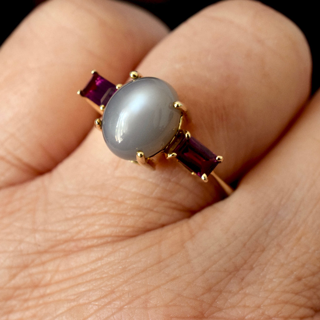 Modern Moonstone And Tourmaline 9ct Yellow Gold Ring Full British Hallmarks