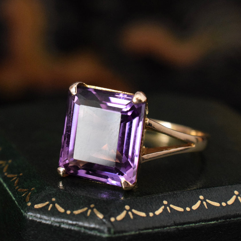 Vintage Square-Cut Large Amethyst 9ct Gold Ring