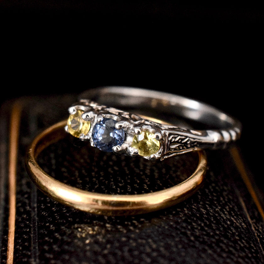 Antique 18ct White Gold Natural Yellow And Blue Sapphire Trilogy Ring