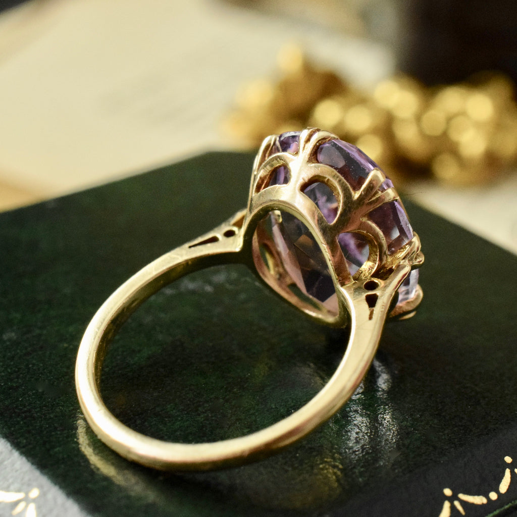 Vintage 'Rose de France' Oval Amethyst 9ct Yellow Gold Ring