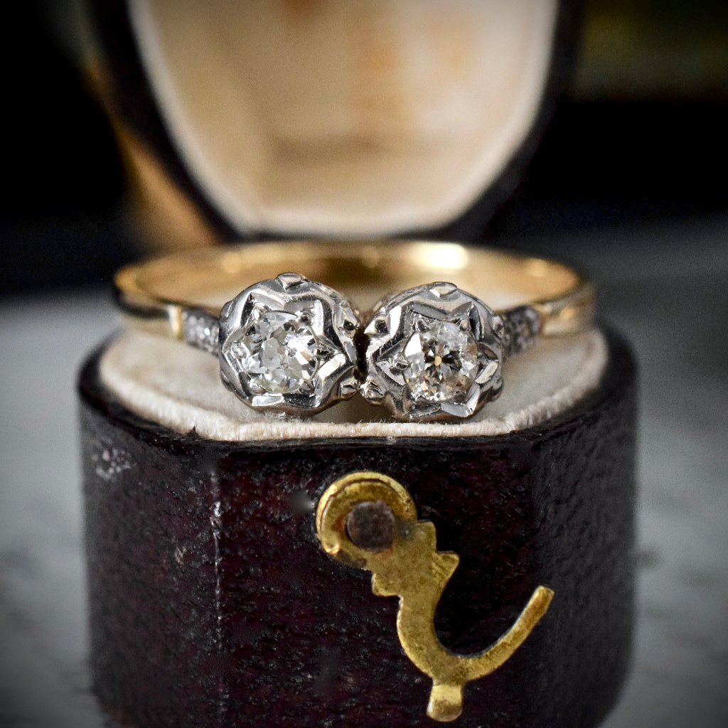 Old European Cut Diamond 'Toi et Moi' 9ct Yellow Gold Ring