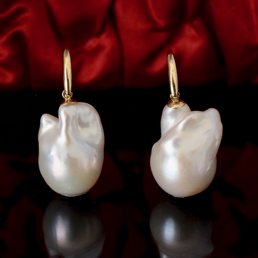 Very Large Modern Baroque Pearl 9ct Gold Earrings