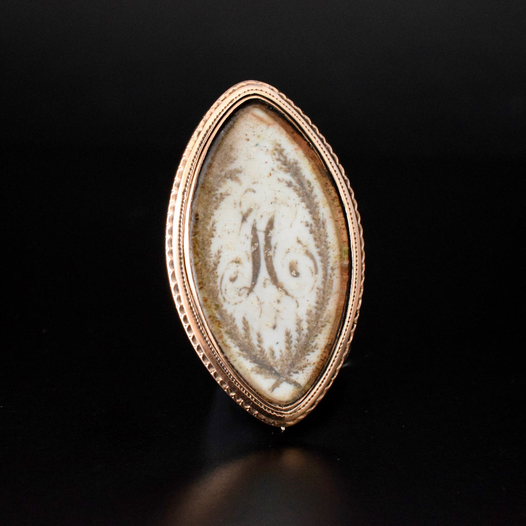 Georgian Circa 1780 Navette Sepia Mourning Brooch / Pendant