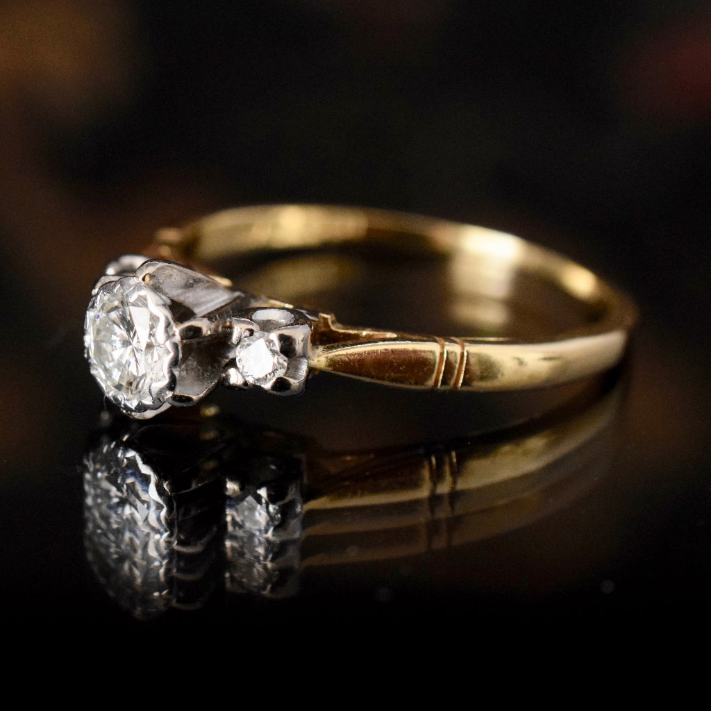 18ct Yellow Gold 'Angus & Coote' Diamond Trilogy Ring Circa 1940's