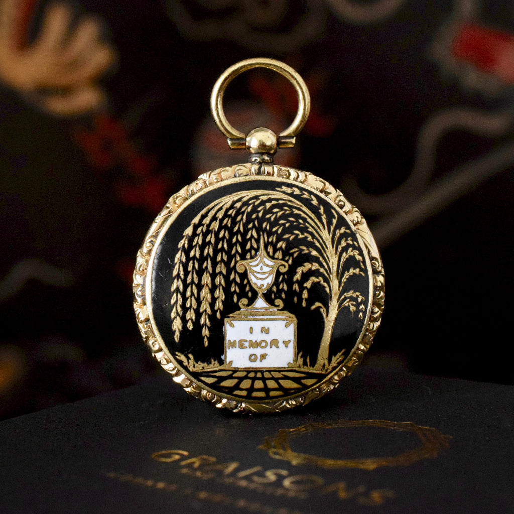 Early Victorian 'In Memory Of' Enamel Gold Cased Pendant Locket