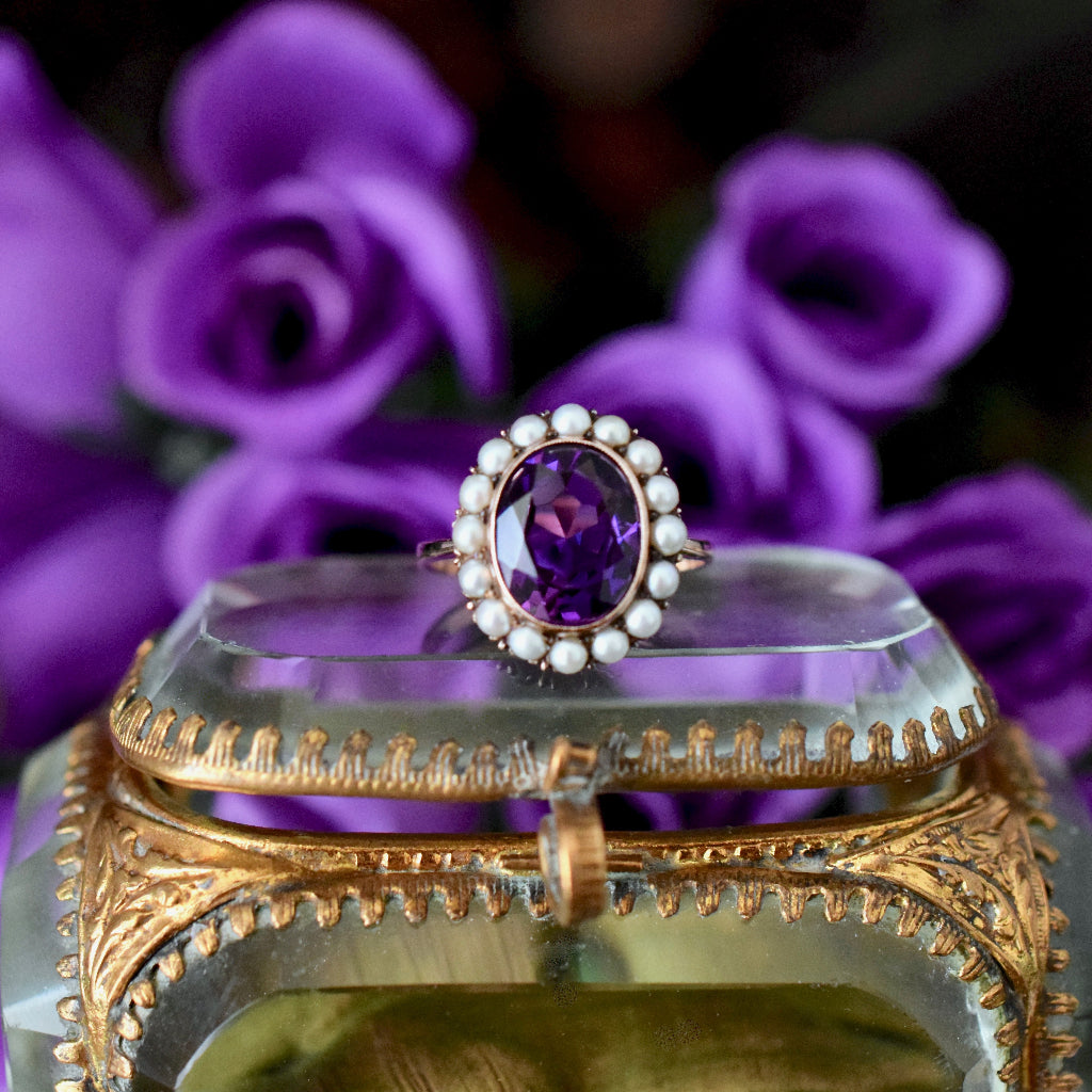 Spectacular Natural Amethyst / Pearl 9ct Rose Gold Ring
