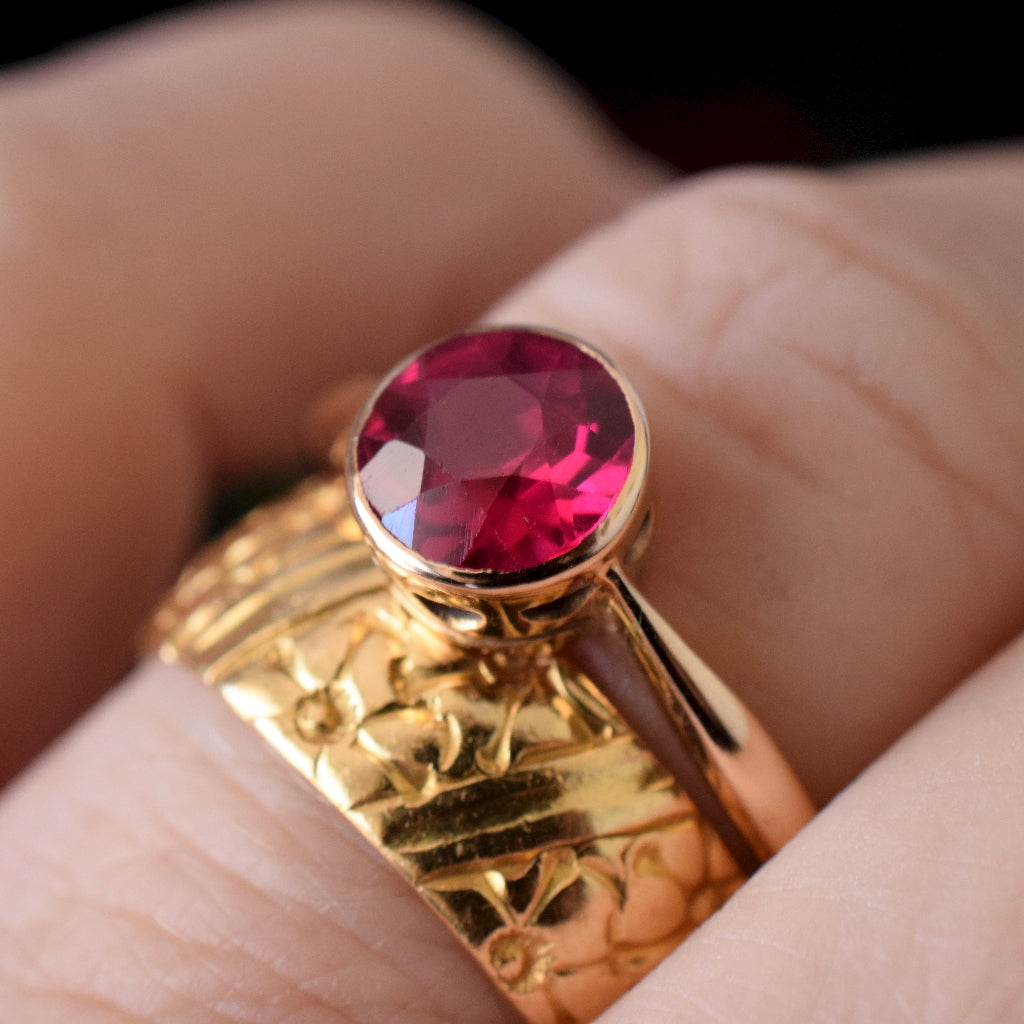 Antique 15ct Rose Gold Man Made Ruby Circa pre 1932