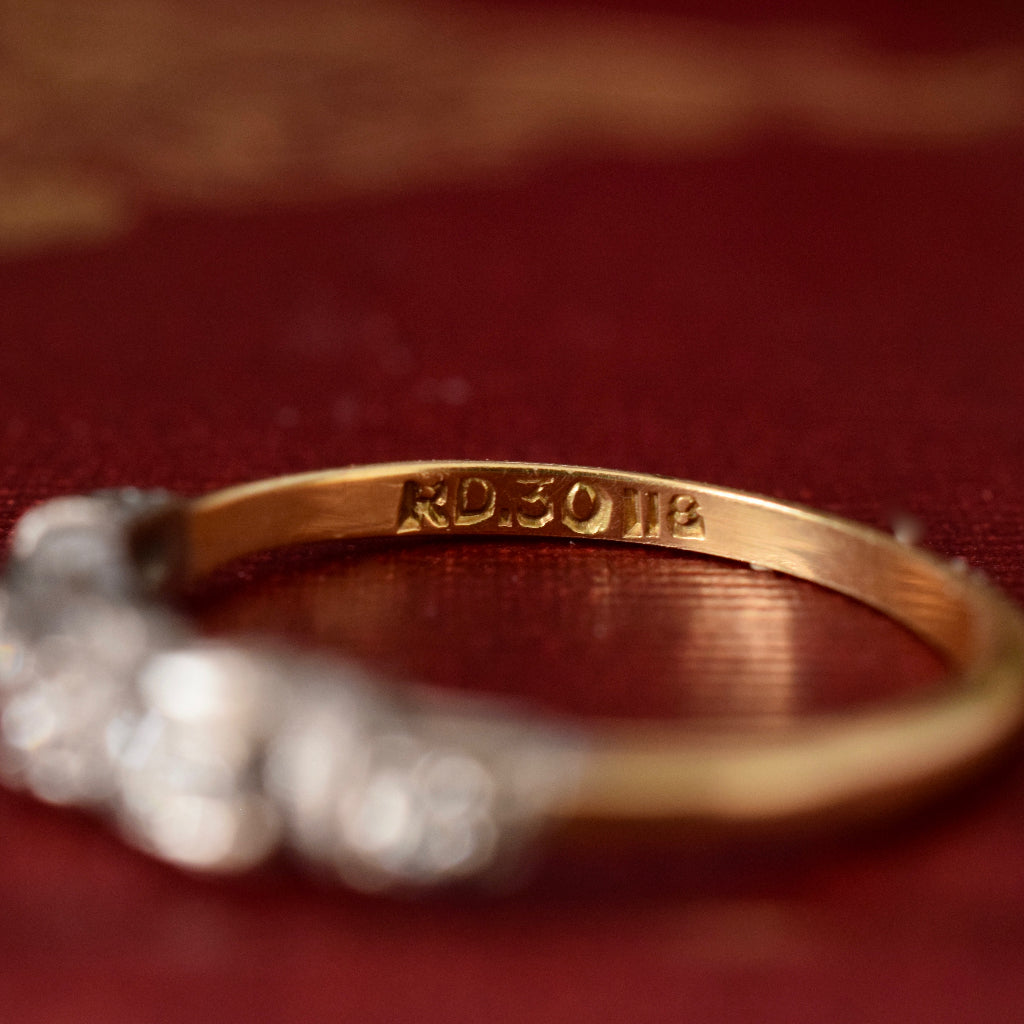 Antique Art Deco 18ct Yellow Gold And Diamond Ring Circa 1930's