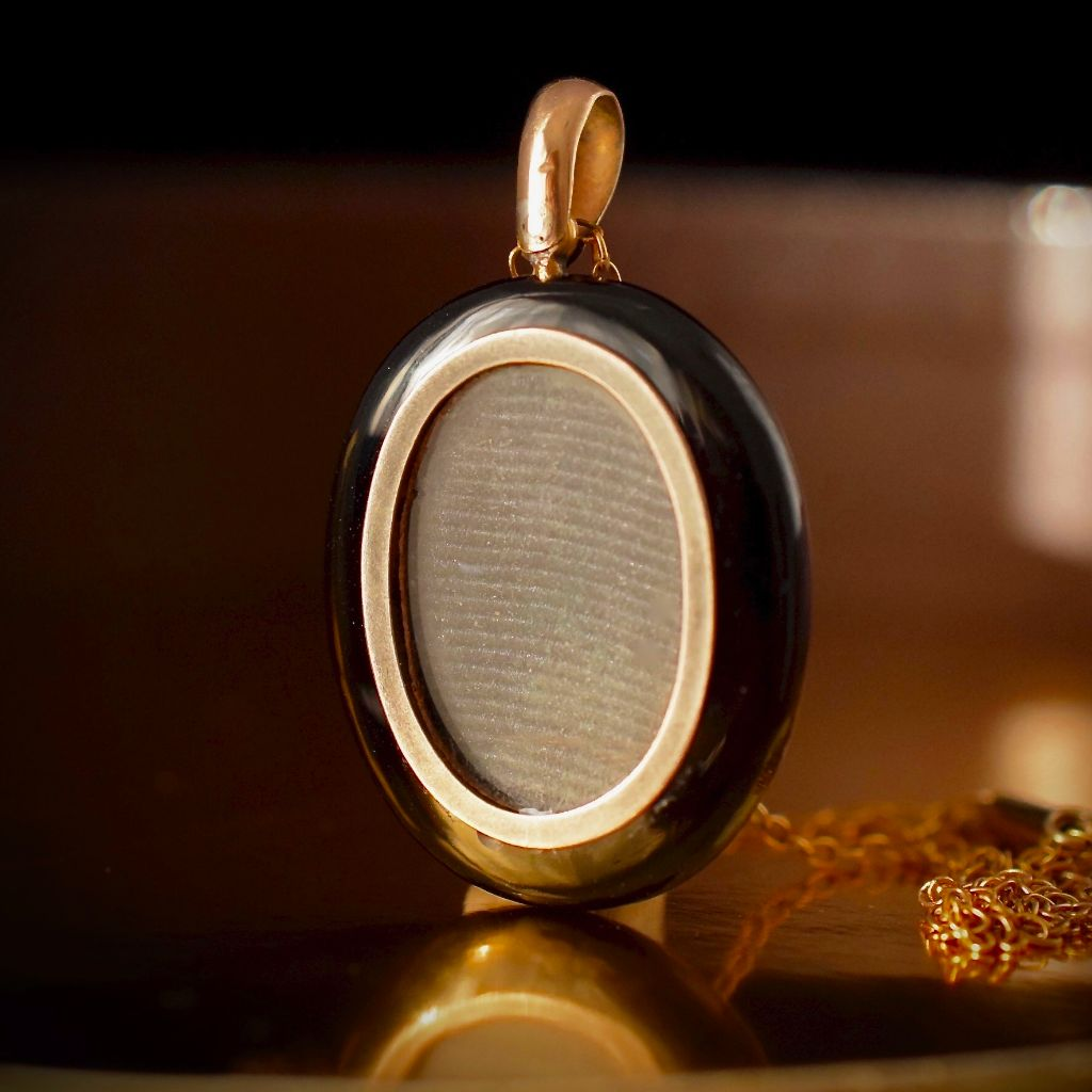 Exceptional Victorian Onyx & Seed Pearl Mourning Locket Circa 1870