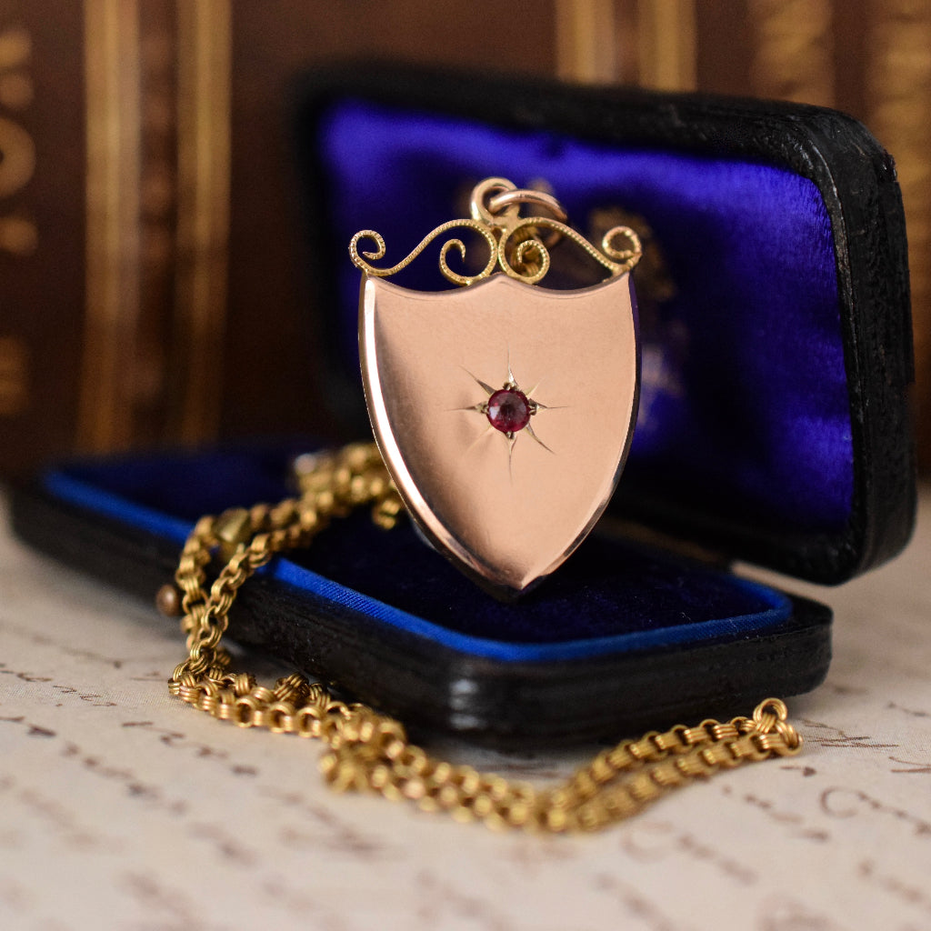 Antique 9ct Rose Gold 'Willis & Sons' Shield Pendant