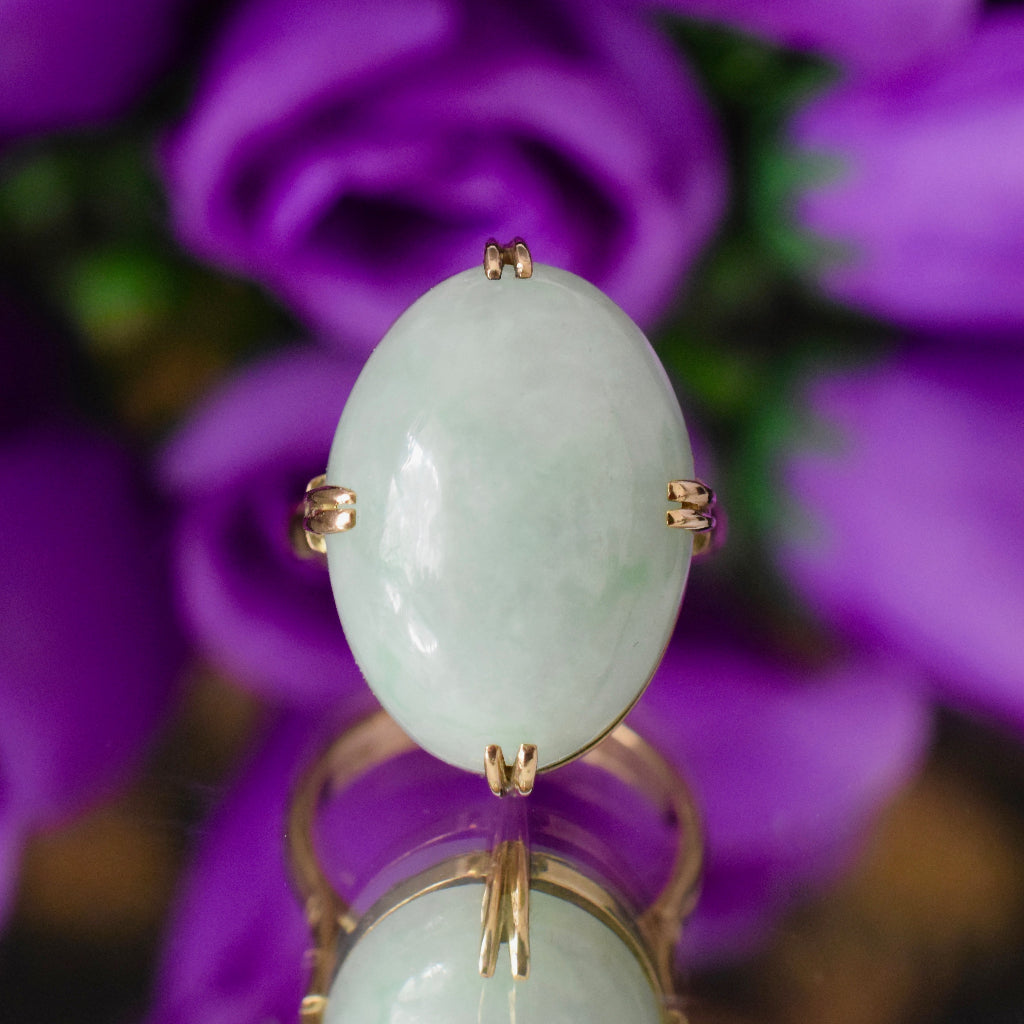 Stunning Vintage 14ct Gold Jade Cabochon Ring 28.70ct