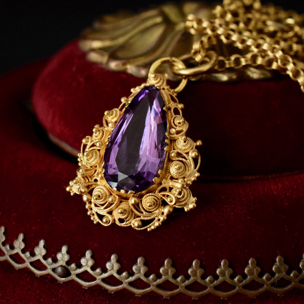 Georgian Pear Amethyst 15ct Cannetille Work Pendant Circa 1820