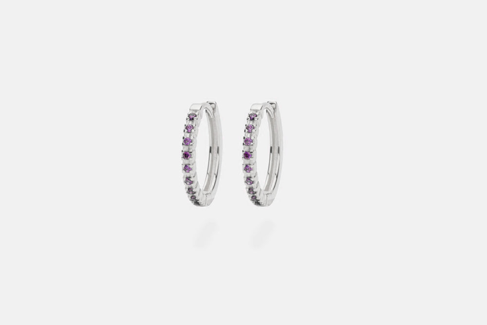 IX ETERNITY PURPLE EARRINGS SILVER