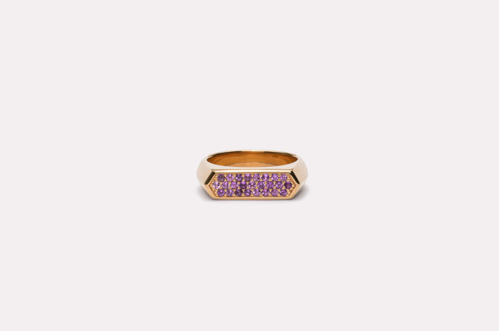 IX Mini Hexagon Ring Purple Gold