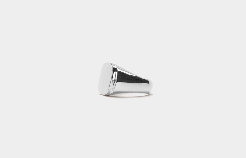 IX Cushion Polished Silver Signet Ring