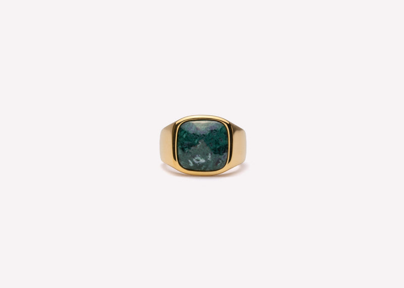 IX Cushion Signet Ring Green Marble