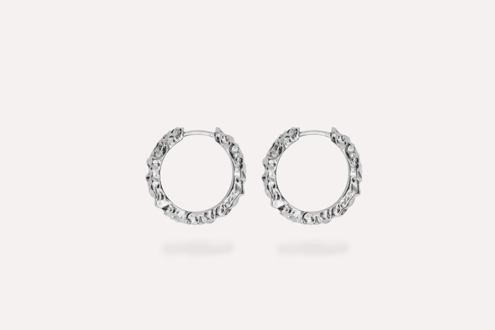 IX Crunchy Edge Earrings Silver
