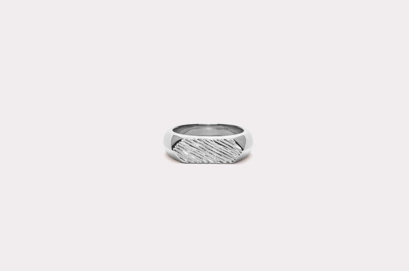 IX Mini Brushed Hexagon Ring Silver