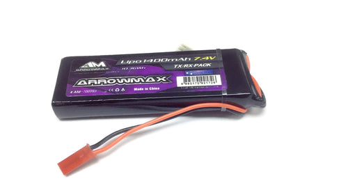 Arrowmax AM-700993 Lipo 1400mAh 7.4V Receiver Pack GP (JST Plug)