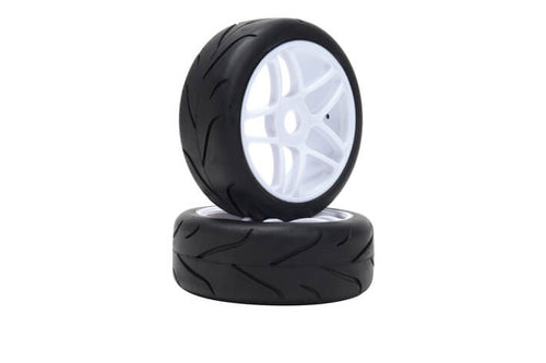 LRP 65570 VTEC 1/8 Off-Road Buggy -Racing Slick- wheel pre-mounted - Street tire on white wheel (1 pair)