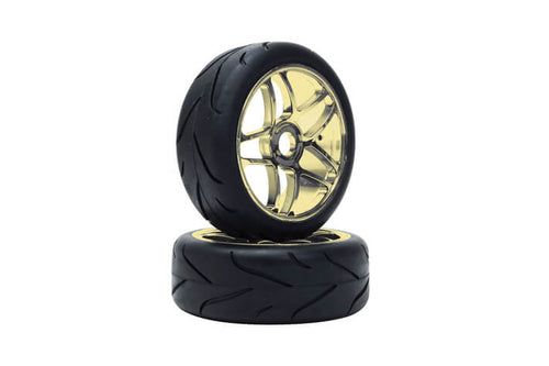 LRP 65571 - VTEC 1/8 Off-Road Buggy -Racing Slick- wheel pre-mounted - Street tire on gold chrome wheel (1 pair)