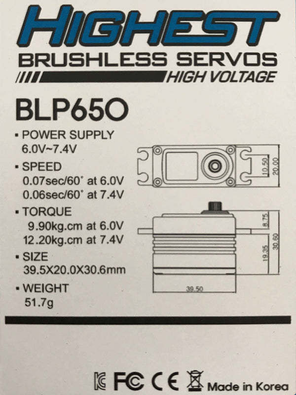Highest BLP650 Low Profile Brushless Servo (Aluminum with Black wire) BLP650